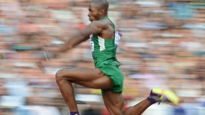 Nigeria's Tosin Oke competes in the men's triple jump final at the London 2012 Olympic Games