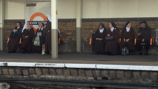 Seven nuns at the station