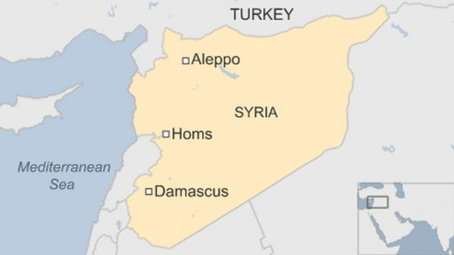 A map showing the locations of Homs and Damascus in Syria