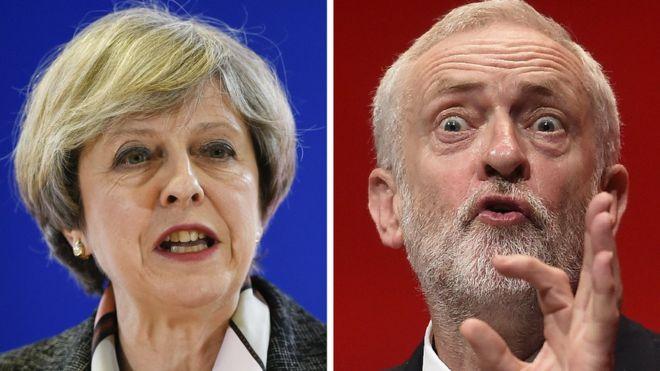 Thủ tướng Anh Theresa May, lãnh đạo đảng Bảo thủ, và ông Jeremy Corbyn, lãnh đạo đảng Lao động đối lập