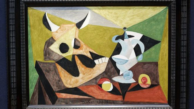 A painting called 'Nature Morte au Crane de Taureau' by Spanish Pablo Picasso is shown during an Impressionist and Modern Art showcase press viewing at Christie's auction house in London, 19 March 2007.