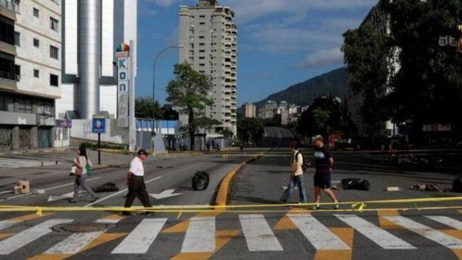 Mitaa mingi ya Caracas ilikuwa mitupu