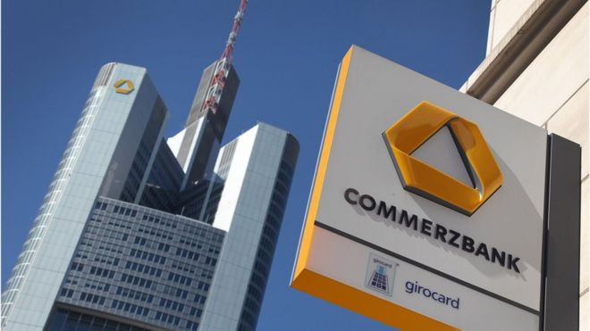 Commerzbank logo with HQ behind