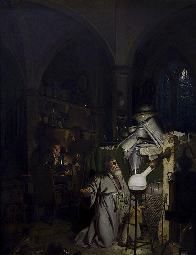 """""""El alquimista en búsqueda de la piedra filosofal"""" (1771) de Joseph Wright"""