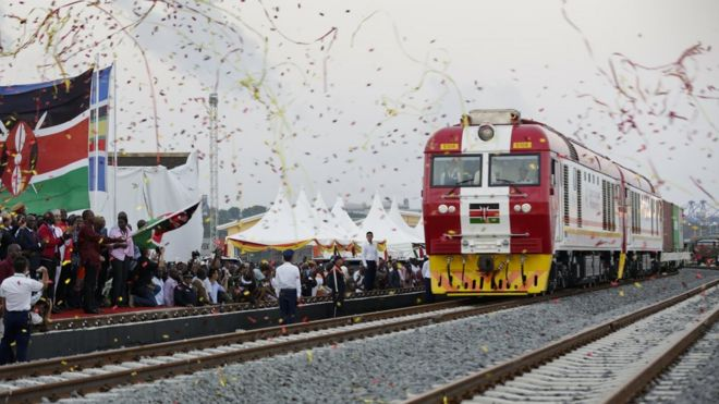 Celebrating launch of new railway