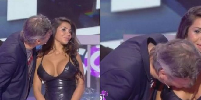 Jornalista Jean-Michel Maire beija Soraya ao vivo