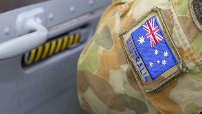 An image of an Australian flag on an army uniform