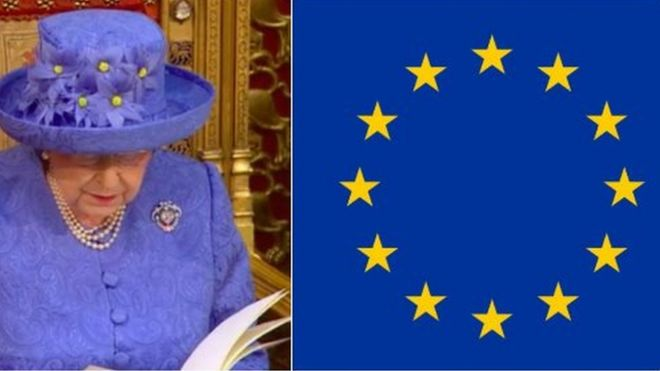 pic of queen and pic of EU flag