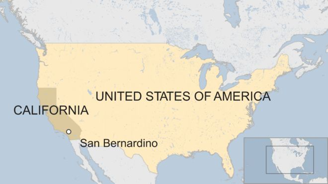 map of USA including San Bernardino