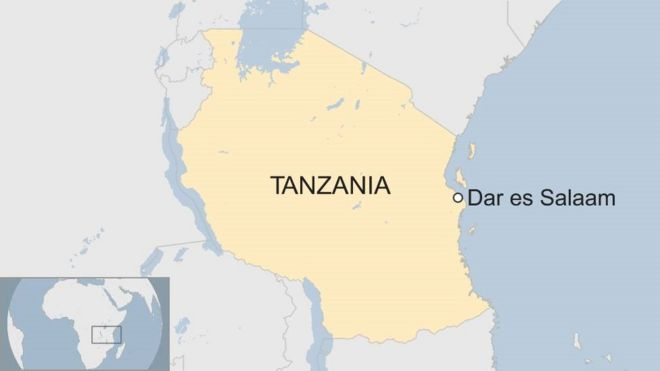 A map showing where Dar es Salaam is in Tanzania