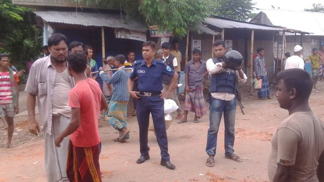 Police at the scene of the brawl in Habiganj