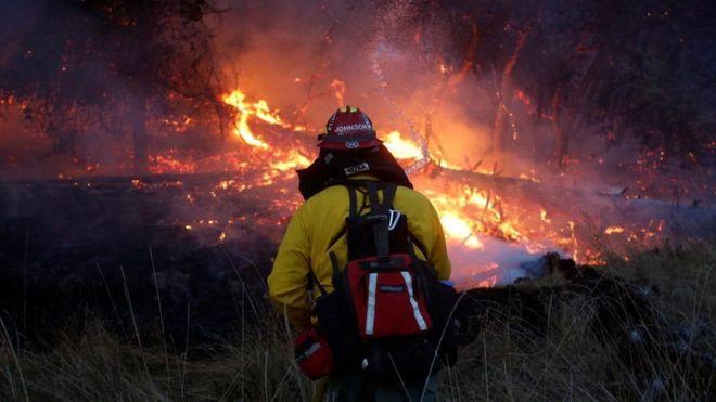 رجال الإطفاء يكافحون حرائق الغابات المدمرة في كاليفورنيا
