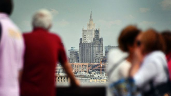The main building of the Russian Foreign Ministry seen from an observation point at Vorobyovy Gory in Moscow, 12 July 2017