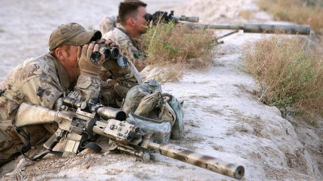 A Canadian sniper team works in Afghanistan