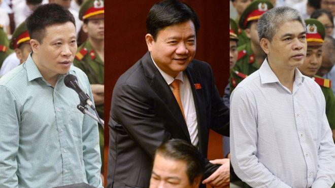 Ông Đinh La Thăng (giữa) bị điều tra liên quan vụ án Oceanbank của ông Hà Văn Thắm (trái) và Nguyễn Xuân Sơn
