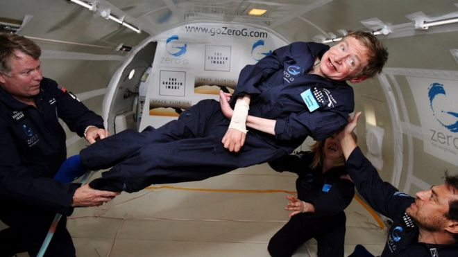 Hawking experienced zero gravity in an airplane