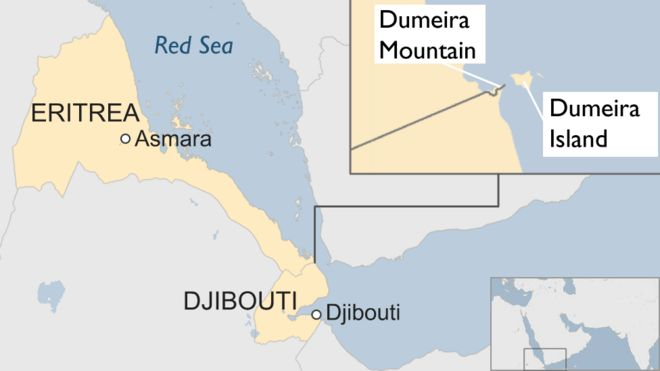 Map of Djibouti and Eritrea