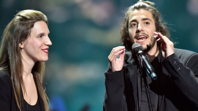 Salvador Sobral and sister Luisa after winning Eurovision 2017