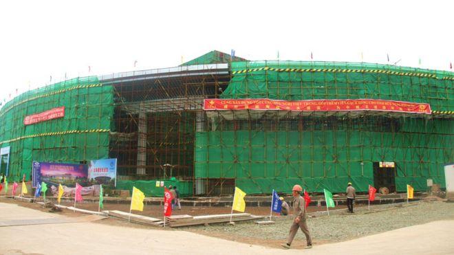 Công trường cung hữu nghị Việt Trung, hình chụp ngày 22/4/2017