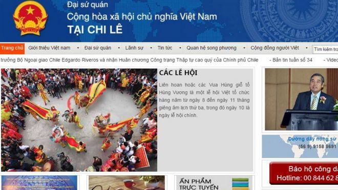 Trang web sứ quán Việt Nam ở Chile