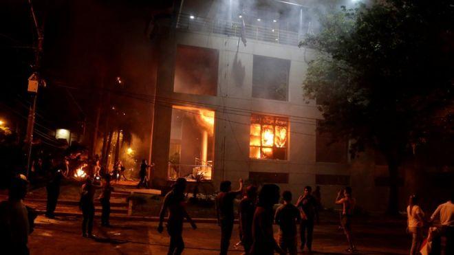 Fuego en el Palacio Legislativo de Paraguay.