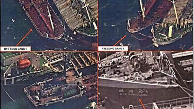 美國財政部在11月21日曾上載一張據稱是10月19日拍攝的照片,指有朝鮮船隻連接其他船隻,可能正在轉移石油,以逃避制裁。