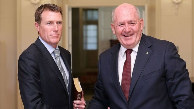 Australian Social Services Minister Christian Porter, left, with Governor-General Peter Cosgrove
