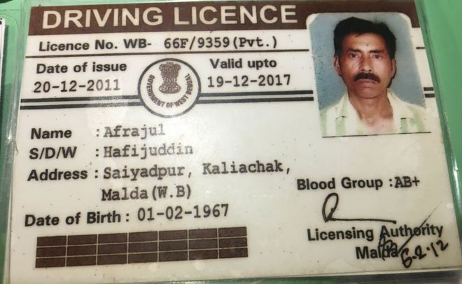 The driving license of Mohammed Afrajul, the victim