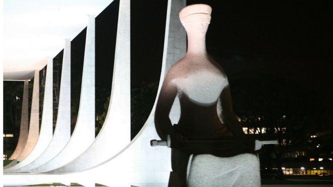 Estátua que representa a Justiça em frente ao STF