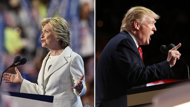 Clinton and trump accept the nomination