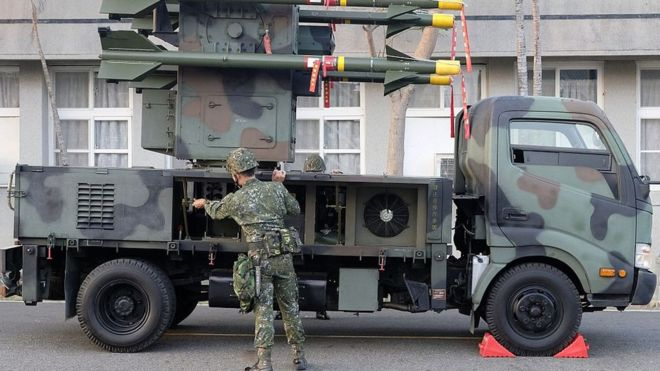 A Taiwan soldier operates home-made Tien Chien surface-to-air missiles during an annual drill in Tainan on January 17, 2017.