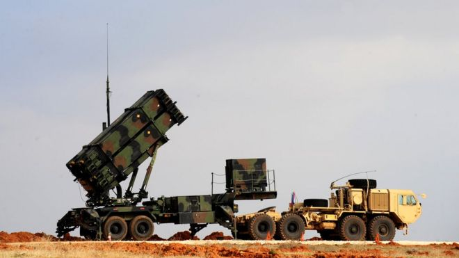 A Patriot missile launcher