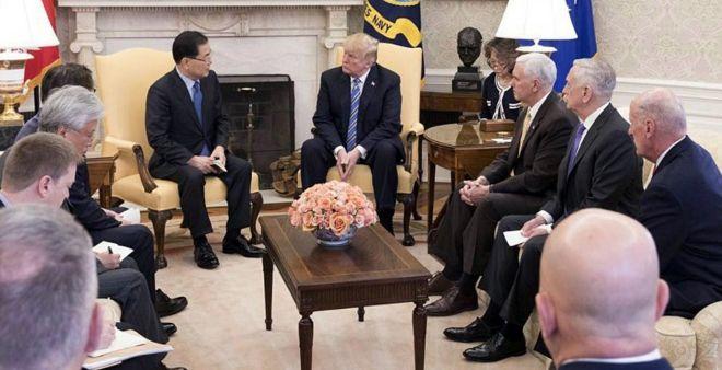 兩名剛結束訪朝的韓國官員將金正恩的口信轉達給特朗普