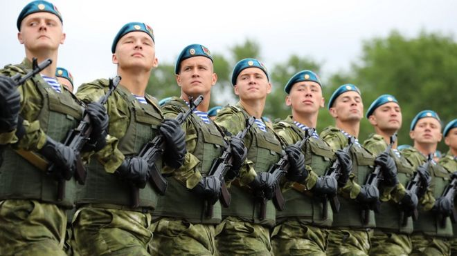 Belarusian airborne troops during the country's independence day parade in July 2017