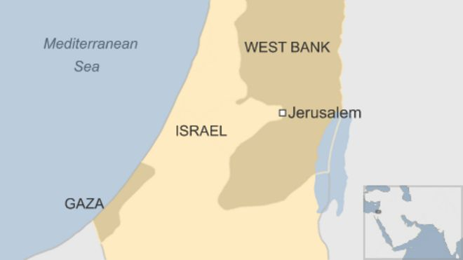 Map of Israel, the West Bank and Gaza
