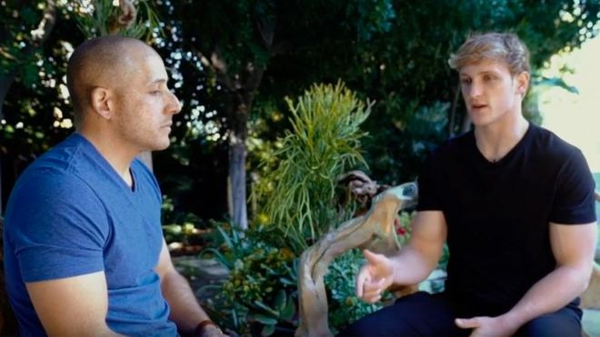 Suicide survivor Kevin Hines speaks to Logan Paul in a screengrab from video