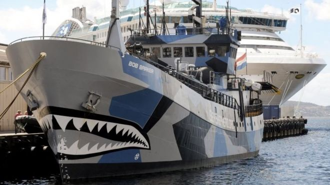 Sea Shepherd vessels Bob Barker anchored in Hobart, Tasmania