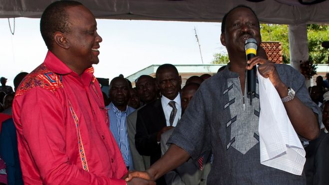 Bw Kenyatta na Bw Odinga waliwania tena mwaka 2013