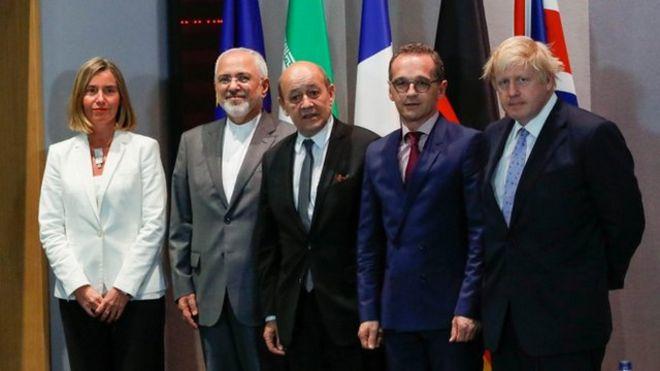 از راست، بوریس جانسون، هایکو ماس، ژان ایو لودریان، محمد جواد ظریف و فدریکا موگرینی