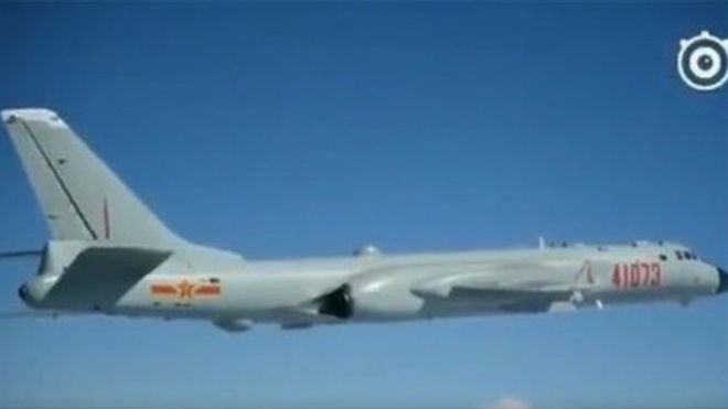 H-6K bomber flies over South China Sea