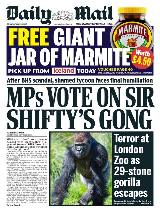 Image result for daily mail front page marmite offer