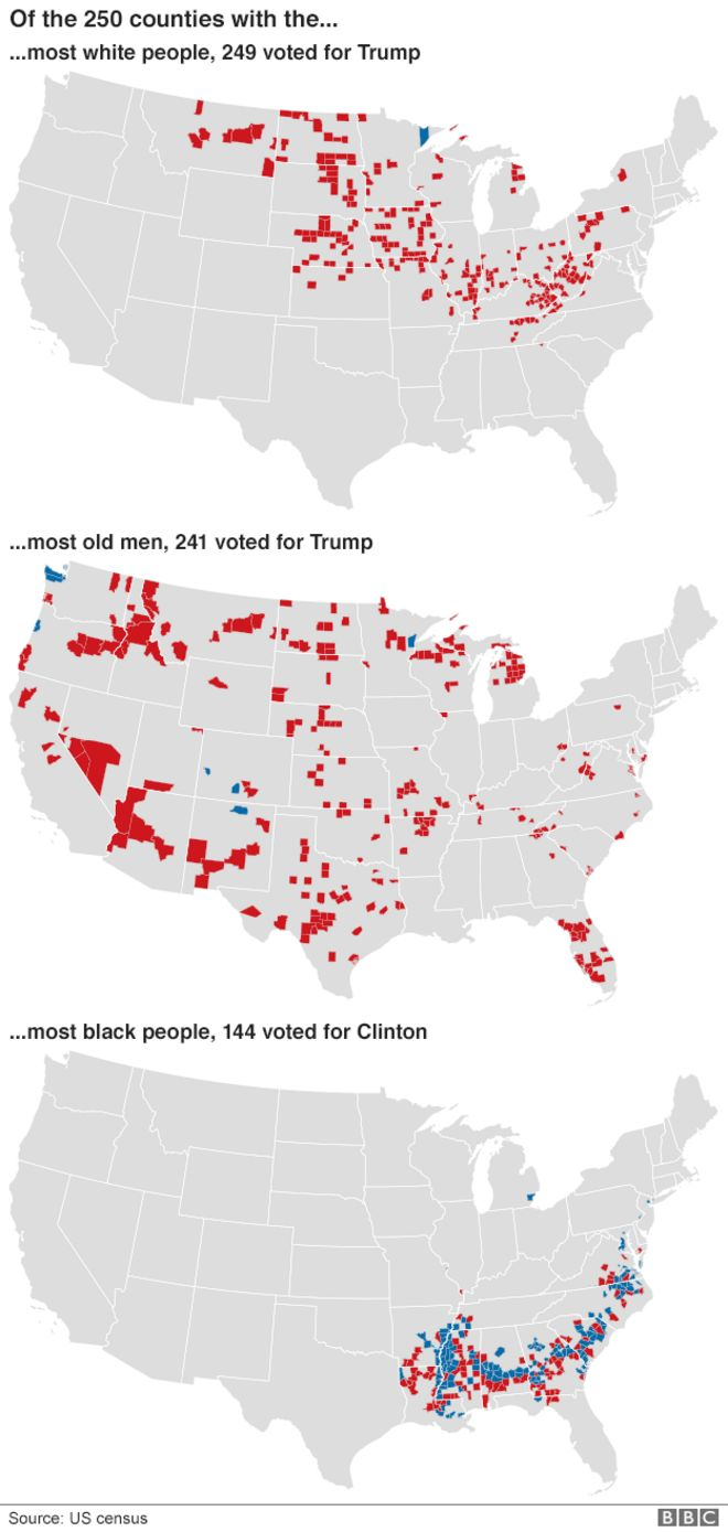 Us Election Trump Victory In Maps Bbc News County Map Of Us