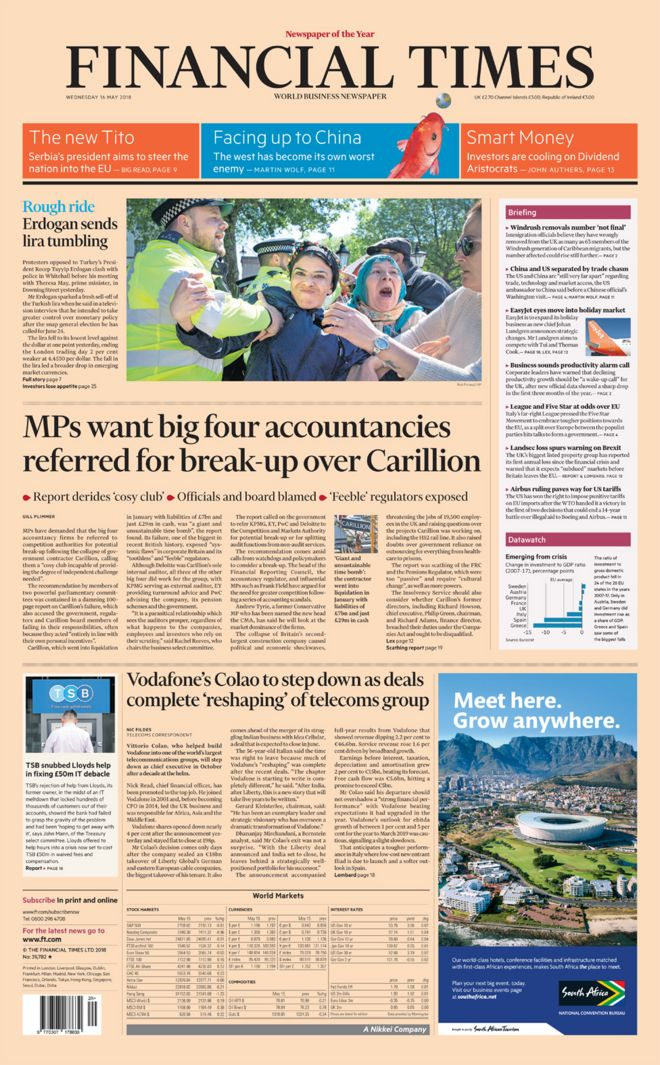 The Financial Times' Wednesday front page