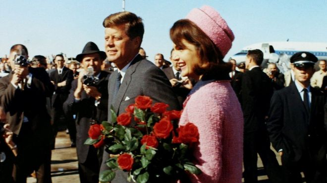 US President John F Kennedy and first lady Jacqueline Kennedy arrive at Love Field in Dallas, Texas, less than an hour before his assassination