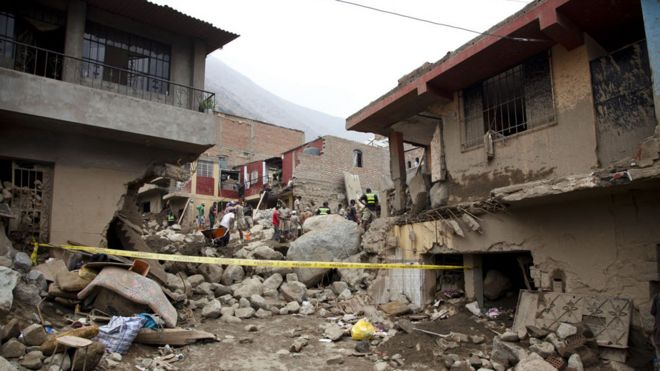 Grau Street in Moyopampa the day after the mudslide in March 2015