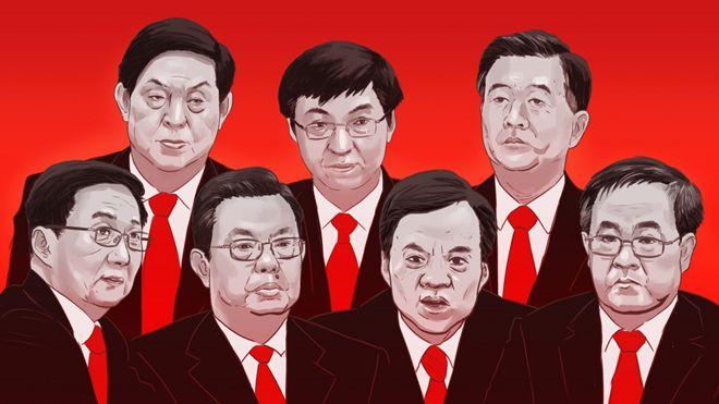 由左至右:韓正、栗戰書、趙樂際、王滬寧、陳敏爾、汪洋、胡春華
