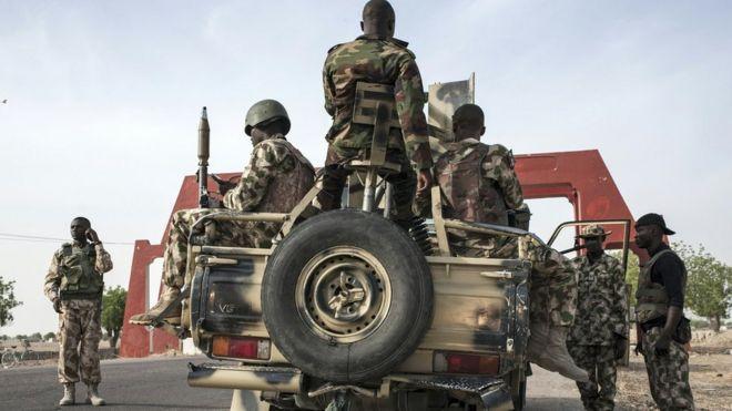 Nigerian troops in Maiduguri on March 25, 2016