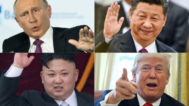 Montagem com fotos de Vladimir Putin (Rússia), Xi Jinping (China), Kim Jong-un (Coreia do Norte) e Donald Trump (EUA)
