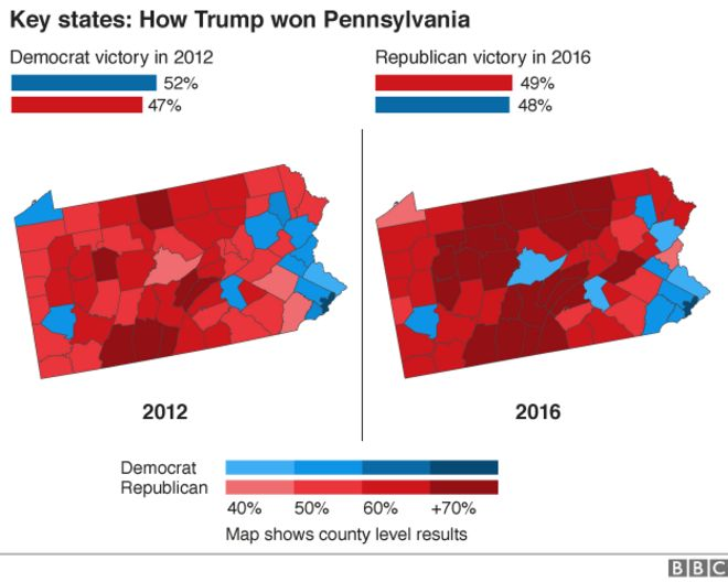US Election Trump Victory In Maps BBC News - Us map election county results