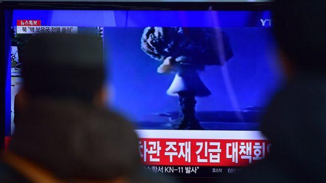 Ядерный взрыв на телеэкране в Сеуле